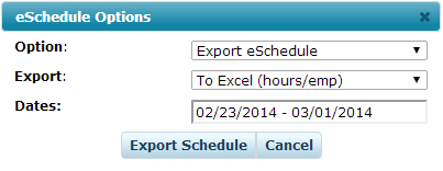 Export Schedules